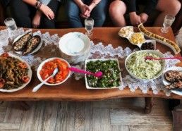 Traditional Arabic dishes shared around a table in Israeli woman's home