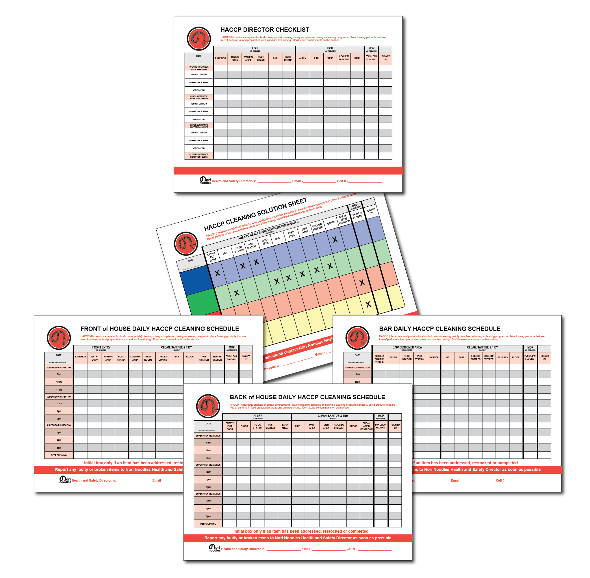 Front of House HACCP Checklist example